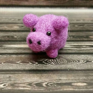 Popcorn Hippo - Needle Felting Sculpture - Felted Hippo - Soft Animal - Handmade Art