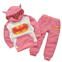 Autumn Winter Baby Children Warm Cartoon Clothing Sets Kids Boys Girls Batman Clothes Sets 2pcs Kids Hoodie Sport Pants Suits