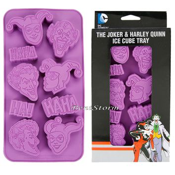 Licensed cool Suicide Squad Harley Quinn Joker Ha Ha Purple Silicone Ice Cube Tray Mold NEW