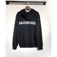 Balenciaga 2019 new letter behind the LOGO printed long-sleeved hooded sweater black