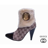 GUCCI Fashion Fur Pointed Toe Stiletto High Heels Short Boots Shoes