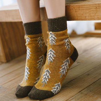 Hot Winter Thick Wool Trees Pattern Women Socks Fashion Color Thicken Warm Boots Socks High Grade Quality Home Floor Sleep Socks