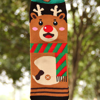 Cute Elk Printed Knitted Socks