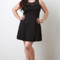 Women's Black Lace Babydoll Dress in Plus Sizes