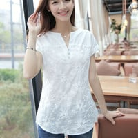 Women's Blouse, Short Sleeve with Floral Embroidery