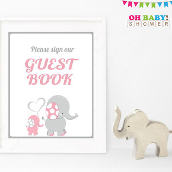 Please Sign our Guest Book Baby Shower Sign Pink Gray Elephant Printable Girl Instant Download Baby Decor Baby Shower Table Sign EL0005-lp