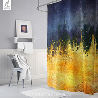 Colorful Shower Curtain | Paint Splash Bath Curtain | Bohemian Bath Decor | Blue and Yellow Shower Curtain | Artsy Shower | Unique Gifts