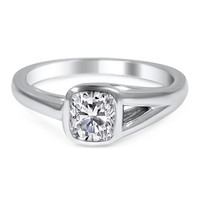 Engagement Ring -Bezel Solitaire Diamond Engagement Ring with Split Band Side-ES1978