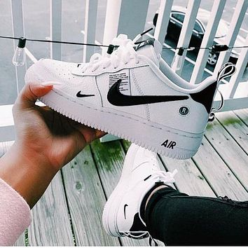 NIKE AIR FORCE 1 DUMR New fashion hook couple shoes White