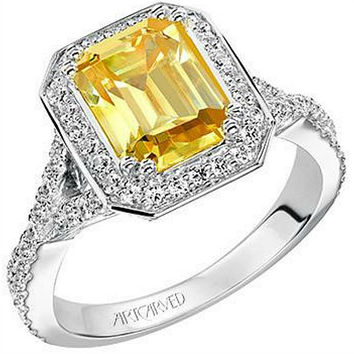 "Artcarved ""Janice"" Yellow Emerald Cut Diamond Halo Engagement Ring"