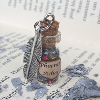 Phoenix Ashes Bottle Necklace / Pendant / Bookmark / Earrings / Decoration / Keyring inspired by Harry Potter