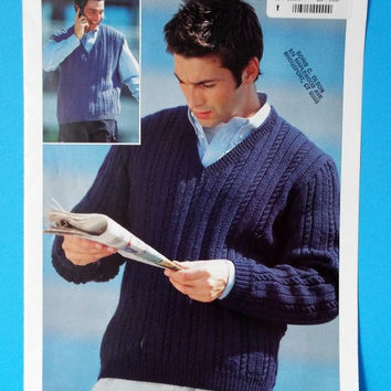 Sirdar Knitting Pattern Cable Knit Pullover Sweater  + Vest Mens 38-48 No 5664 Destash