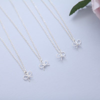 Bridesmaid Necklace Set of 4, 5, 6, 7, 8, Bridesmaid Necklace, Bridesmaid Jewelry, bridesmaid Gift, bridesmaid gift necklace, Bow Necklace