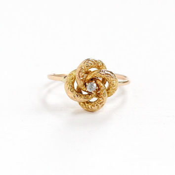 Antique 18k & 10k Yellow Gold Old European Cut Diamond Victorian Love Knot Ring - Size 5 Late 1800s Fine Stick Pin Conversion Jewelry