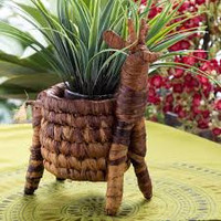 Fair Trade Artisan Giraffe Banana Fiber Plant Pot