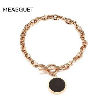 Meaeguet Rose Gold Color Link Chain Bracelets & Bangles Stainless Steel Enamel Charm Bracelet For Women Lucky Friendship Jewelry