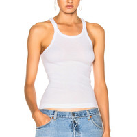 RE/DONE Ribbed Tank Top in Optic White | FWRD