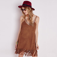 Brown Spaghetti Strap Fringed Suede Dress