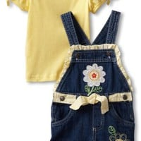 Young Hearts Little Girls' 2 Piece Knit Pullover And Woven Shortall