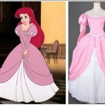 Fantasia Halloween role-playing hot sell  Party Little Princess Ariel cosplay Dress Women Adult pink Mermaid Costume
