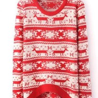 X'mas Deer Asymmetric Sweater Red S006880