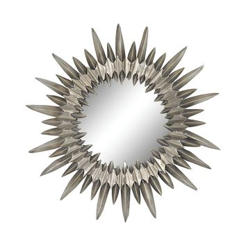 Sunburst Mirror In Aged Silver