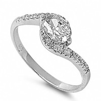 Genny's Twist Design Oval CZ Promise Ring