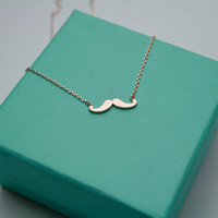 Rose Gold mustache necklace, Tiny mustache necklace, Fun dainty mustache jewelry, I mustache you a question fun Mustache Necklace