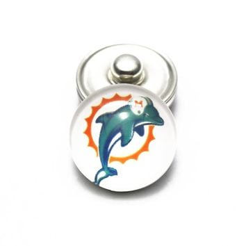 Hot selling 10pcs/lot USA Football Sports Miami Dolphins Snap Buttons DIY 18mm Glass Ginger Snap Bracelets Accessory