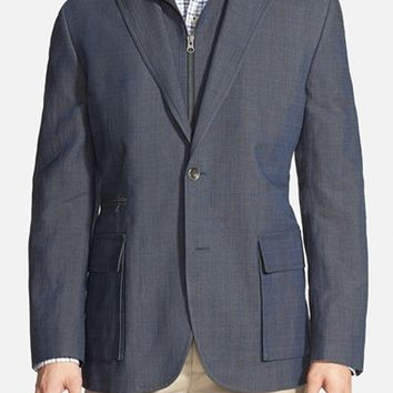Kroon 'Commodore' Linen Blend Hybrid Sport Coat with Inset Zip Vest,
