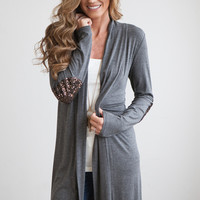 Sequin Elbow Patch Knit Cardigan - Charcoal/Gold