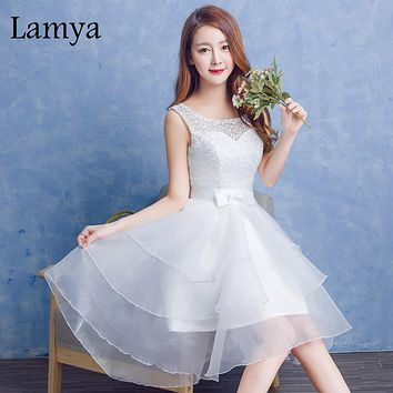 Lamya 2017 High Quality Lace Prom Dress High Low Ruffles Elegant Sweetheart Party Dress Summer Design Romantic Dress