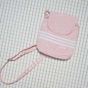 ONETOW Adidas Mini Backpack, Tumblr Baby Pink Small Backpack, Pastel Drawstring Backpack, Cyb