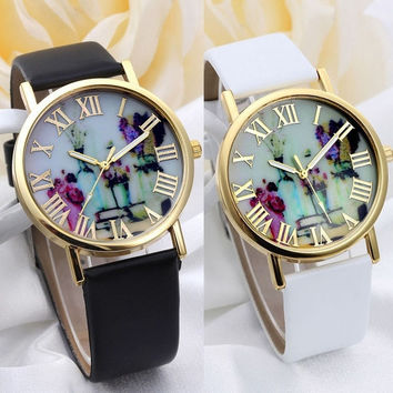 Women Fashion Vases Dial Watches With Leather Band = 5987765953