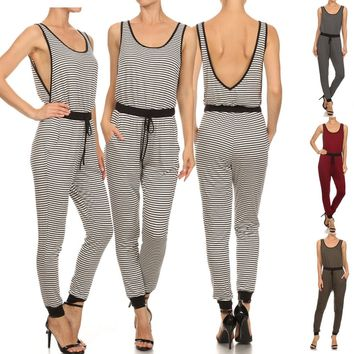 Striped Scoop Neck Sleeveless Low Back Full Length Jumpsuit w/ Pockets & Mock Tie Waist