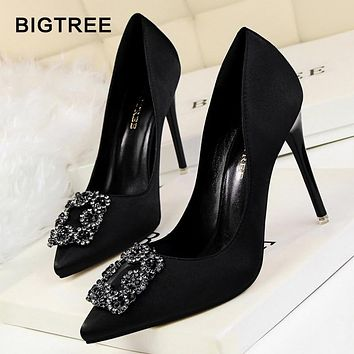 BIGTREE Women Pumps Elegant Rhinestone Silk Satin High Heels Shoes Crystal Metal Square Buckle Party Shoes Women Wedding Shoes