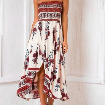 Streetstyle  Casual Fashion Boho Bandeau Floral Print Dress