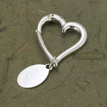Key Chain Heart - Personalized- Engraved Monogram Bridesmaids Gift (637)