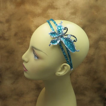 Headbands -Turquoise - Butterfly - Hair Accessories - Bridal Accessories - Wedding Hair Band - Little Girls Headbands - Flower Girl Gift