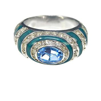 Blue Oval CZ Dome Ring with Clear Rhinestones and Teal Enamel in Silver Tone Size 8.5 Signed