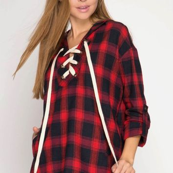 Roll-Up Sleeve Plaid Hooded Top