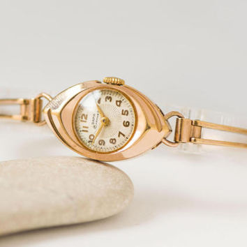 Gold eye watch for woman, mid century lady watch bracelet, rare design cocktail watch Dawn, mechanical watch 50s fashion USSR gold plated