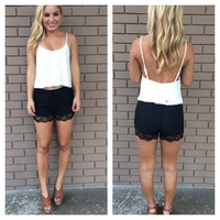Black Lace Drawsting Shorts