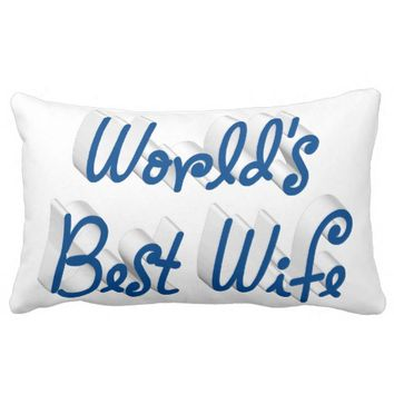 World's Best Wife 3D Pillows, Sea Blue Throw Pillow