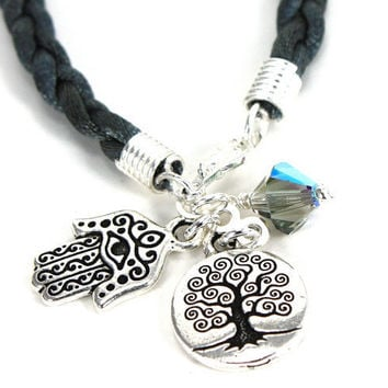 Black Braided Satin Cord Bracelet with pewter Hamsa, Tree of Life, and Black Diamond Swarovski Crystal