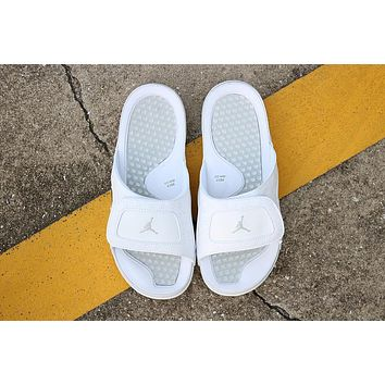 Nike Air Jordan 13 Triple White Men Women Slipper Sandals