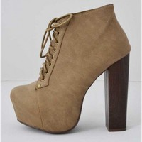 Trendy Clothing, Fashion Shoes, Women Accessories | Vintage Francheska 01 Taupe Platform Booties   | LoveShoppingMiami.com