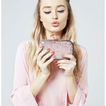Pink Pineapple Clasp Glitter Clutch