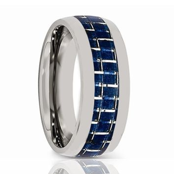 Aydins Mens Tungsten Wedding Band w/ Blue Carbon Fiber Inlay Domed 8mm Tungsten Carbide Ring