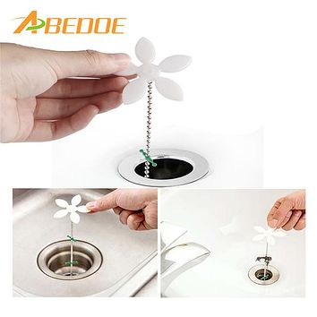 ABEDOE 2pcs/set Sink Cleaning Tools Flower Shape Pipeline Dredge Sink Clogged Hair Cleaner Hose Pipe Sewer Cleaner Kitchen Tools
